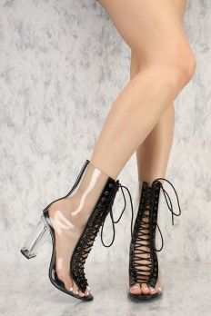 Pink Front Lace Up Pee Toe Mid Calf Clear Chunky Heel Ami ClubWear Boots Faux Leather