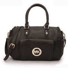 Michael Kors Fulton Logo Large Black Satchels