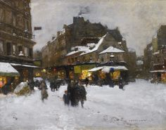 Rue Lepic and Boulevard Clichy in the Snow by François-Joseph Luigi Loir (French, 1845 - 1916)