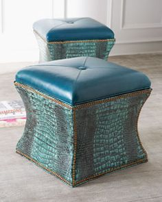 """H5SQK Massoud """"Lagoon"""" Storage Cube. With a nod to the rippling blues and greens of the Mediterranean sea, this design bring  the textures of crocodile embossing together with sleek shape for rich effect."""
