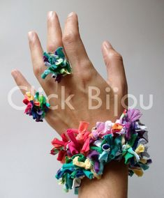 click bijouterie: NUEVO! Pulseras y anillos de pirinchos de tela
