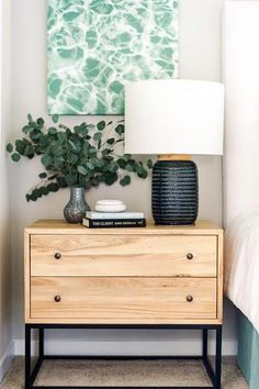 In a farmhouse design, the side table seems to have important roles that are unreplaceable. The farmhouse side table is not there for merely functions Decor, Bedroom Design, Nightstand Decor, Furniture, Bedroom Decor, Home Decor, Bedroom Night Stands, Side Tables Bedroom, Room Decor