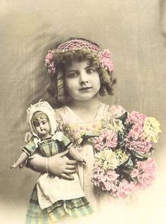 vintage girl with doll