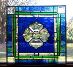 Polaris a beveled blue square stained glass by TreasuresOfLight, $110.00 www.treasuresoflight.com