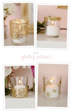 diy glitter votives.  Spread Elmer's glue on carefully w/ a popsicle stick, then roll in colored, gold or silver glitter!  This way, you CAN afford to give to everyone you love at Christmas, while sticking to your budget!  Don't forget to add a votive in them!  xo F