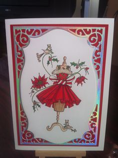 Katy Sue stamp coloured with promarkers Christmas Card Crafts, Handmade Cards, Stampin Up, Card Ideas, Birthday Cards, Projects To Try, Card Making, Girly, Silhouette