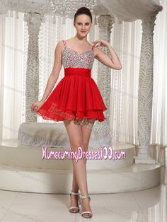 Chiffon Beaded Homecoming Queen Dress Red with Spaghetti Straps Occasion : Prom,Party,Cocktail Party