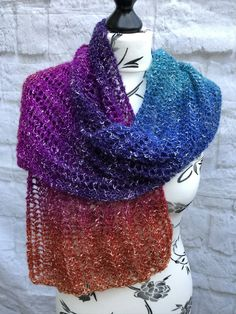 Hand Knitted Lace Stitch Rainbow Scarf £25.00