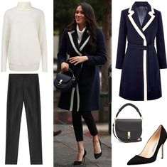 WMW♥3/8/2018 Birmingham: ♥J.Crew Tipped Topcoat (£330)♥ALTUZARRA 'Ghianda' Saddle Bag in Navy Grain Leather (US$1,595)♥Alexander Wang black cropped trousers ($429)♥@WhatMegWore suggests Ms. Markle wore two Birks Rosée du Matin® Collection bracelets. One is the Horizontal Bar Bracelet (US$925) and another possible bespoke Cross bracelet♥