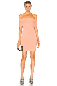 Image 1 of T by Alexander Wang Off The Shoulder Dress in Salmon