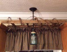 Mason Jar Sink Light & Tobacco Stick Ladder w/Grapevine