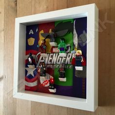 Lego Avengers White Frame Display With Minifigures Side View