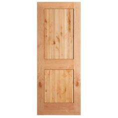 Knotty Alder Veneer 2 Panel Plank V Groove Solid Wood Interior Barn Door  Slab