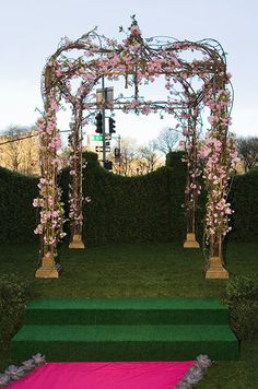 This chuppah wrapped with pink cherry blossoms is great for an outdoor spring wedding or garden decor with a sweet little bench underneath. Wedding Altars, Wedding Ceremony Decorations, Ceremony Backdrop, Garden Party Wedding, Spring Wedding, Dream Wedding, Botanical Wedding, Floral Wedding, Wedding Flowers