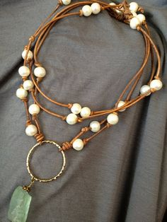 Eternity Pearl Necklace paired with double wrap pearl necklace on same color leather. $75 for set. Double wrap is made choker style and can be worn as a wrap, long necklace or wrap bracelet.