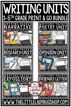 Grow your students in writing with this complete year long Writer's Workshop Bundle. This packet is perfect for your students in 2nd grade, 3rd Grade, 4th & 5th Grade and homeschooling . It includes: Poetry Unit, Expository, Research Paper Writing , Personal Narrative, Opinion and Letter Writing Units. #writingworkshop #personalnarrative #opinionwriting #writersworkshop #writingnotebook #writing4thgrade #writingunit