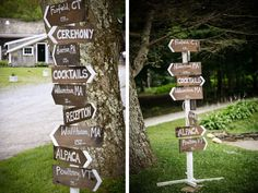 Sign post. This would work great at any outdoor shindig-wedding, family BBQ (that way grandma won't get lost), etc.