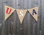 Patriotic decor banner patriotic decor 4th of July burlap banner USA banner decoration photo prop