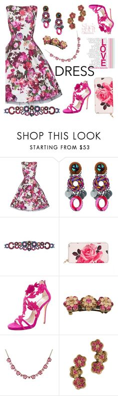 """""""Floral Dress"""" by settygallery ❤ liked on Polyvore featuring Ayala Bar, Kate Spade, Oscar de la Renta and Michal Negrin"""