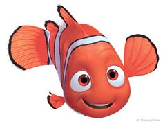 Nemo from the animated film, Finding Nemo. Image description: animated orange and white-striped Nemo has one normal sized fin and one that's very small. He is smiling, slightly cross-eyed, at the viewer.