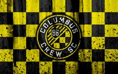 Download wallpapers 4k, FC Columbus Crew, grunge, MLS, art, Eastern Conference, football club, USA, Columbus Crew, soccer, stone texture, logo, Columbus Crew FC