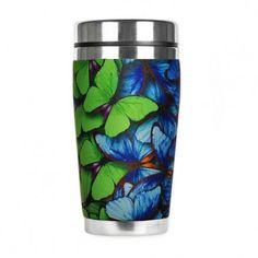 Insulated Rainbow Butterfly Stainless Steel Mug Rainbow Butterfly, Butterfly Gifts, Butterfly Design, Butterfly Print, Insulated Travel Mugs, Gifts For An Artist, Stainless Steel Travel Mug, Butterfly Watercolor, Coffee Gifts