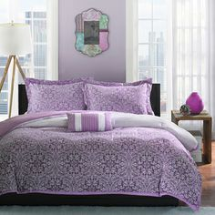 @Overstock.com - Mizone Carmen 4-piece Comforter Set - Update bedroom space to a modern look with this comforter set. The beautiful ombre effect is used to take the medallion motif from a deep plum at the bottom to a very soft lavender at the top of the comforter.  http://www.overstock.com/Bedding-Bath/Mizone-Carmen-4-piece-Comforter-Set/8437449/product.html?CID=214117 $49.99