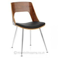 Karma Walnut Dining Chair Black Leather - Atlantic Shopping