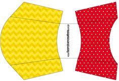 Envelope Fritas Poá Vermelho e Listras Amarelo: