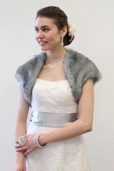 Faux fur bolero jacket Grey ChinChilla