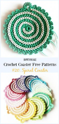 Spiral Coaster Free Crochet Pattern - Easy Coaster Free Patterns by Elena-Elena Crochet Coaster Pattern, Crochet Motif, Crochet Yarn, Free Crochet, Thread Crochet, Doilies Crochet, Easy Crochet Projects, Easy Crochet Patterns, Crochet Crafts