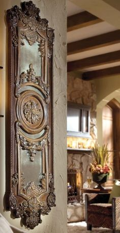 "Hmm, but maybe something more ""New World"". Old World Tuscan Distressed Wall Decor Ornate Embossed Medallion Design Tuscan Wall Decor, Style Toscan, Style Ancien, Tuscany Decor, Tuscan House, Mediterranean Decor, Tuscan Decorating, Old World Decorating, Decorating Tips"
