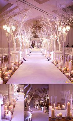 Fairytale-Winter theme wedding - white branches walkway