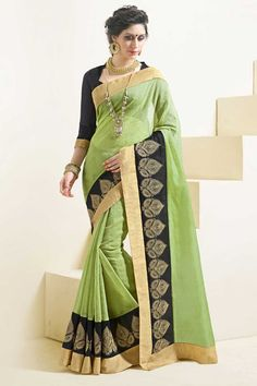 #AndaazFashion Présente Vert sari de soie de l'art avec le chemisier  http://www.andaazfashion.fr/womens/sarees/green-art-silk-saree-with-blouse-dmv8544.html