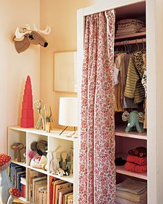 Clothing storage from bookcase--idea for girls' room