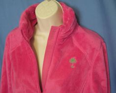 Lilly Pulitzer Womens Fleece Maddie Chic Pink Zip Up Jacket Coat Small Soft  #LillyPulitzer #FleeceJacket