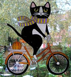 WICOART STICKER WINDOW COLOR CLING FAUX STAINED GLASS HALLOWEEN CHAT BICYCLETTE