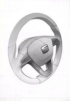 SEAT Leon ST Interior - Steering Wheel Design Sketch