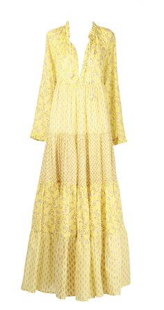 Yvonne Sporre Light cotton summer maxi dress Hand-made prints by Yvonne Sporre Dresser, Dresses With Sleeves, Yellow, Long Sleeve, Women, Fashion, Moda, Powder Room, Gowns With Sleeves