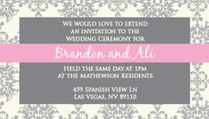 Wedding Invitation - ceremony card