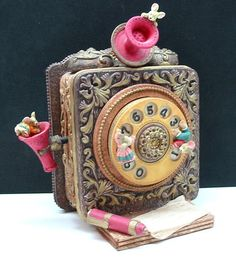 """Whimsical Antique Style Telephone Music Box Plays The Tune """"Fascination"""" 