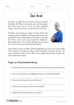 A free worksheet on the topic of personal descriptions, on which the students find an example with a description of a person to a doctor. … - New Sites German Grammar, German Words, Education English, Elementary Education, Deutsch Language, General Knowledge Book, German Language Learning, Learn German, Reading Comprehension