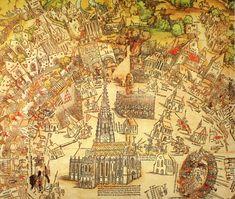 Publisher: Meldemann, Nikolaus, Title: »Der Meldeman-Plan« Belagerung der Stadt Wien, Detail, Date: 1530 Empire, Medieval Castle, Ancient History, Vienna, Diorama, Croatia, Planer, Vintage World Maps, Tower