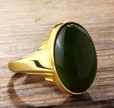 Agate Men's Ring in 10k Yellow Gold, Men's Statement Ring #mensjewelry #giftforhim #silverring #diamondring #amethyst #jewelsformen #finejewelry #ring #mensring
