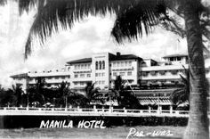Pre-war Manila Hotel Filipino Architecture, American War, Tropical Garden, Manila, Old Pictures, Time Travel, Wwii, Philippines, History