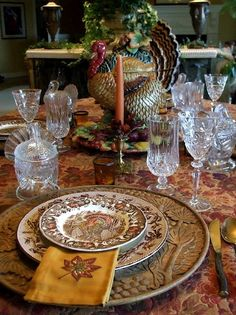 "Thanksgiving... table setting featuring Johnson Brothers ""His Majesty"" dinnerware."