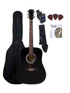 Fender FA-100 Dreadnought Acoustic Guitar Bundle with Gig Bag, Tuner, Strap, Picks, Strings - Black Fender http://www.amazon.com/dp/B00CA8982Q/ref=cm_sw_r_pi_dp_6y9Cub1KTZD1C