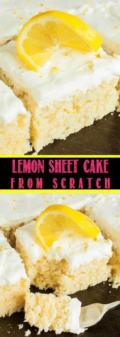 This easy Lemon Sheet Cake with Lemon Cream Cheese Frosting is made from scratch and better than a box mix! You will LOVE this moist, vibrant lemon dessert! Shared by Where YoUth Rise. Sheet Cake Recipes, Cake Recipes From Scratch, Sheet Cakes, Lemon Sheet Cake Recipe From Scratch, Weight Watcher Desserts, Lemon Recipes, Baking Recipes, Healthy Lemon Cake Recipe, Easy Lemon Cake