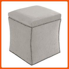 Skyline Furniture Velvet Nail Button Ottoman, Light Gray - Improve your home (*Amazon Partner-Link)