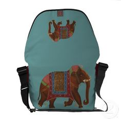Vintage Indian Elephant Oil Painting Messenger Bags